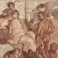 'Roman Wall Painting in Pompeii'