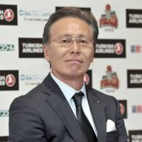 Toshimitsu Kawachi, the bj-league commissioner, speaks after Sunday's title game, the final contest in the 11-season history of the league. | YOSHIAKI MIURA