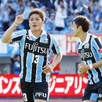 Frontale's Yoshito Okubo celebrates after his second goal against Vissel on Saturday in Kawasaki. | KYODO