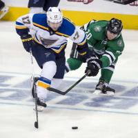 Backes strikes in OT to lift Blues