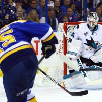 Burns goals lead Sharks past Blues