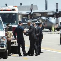 Obama meets ejected Thunderbird pilot after chopper helps in rescue; crash kills Blue Angel