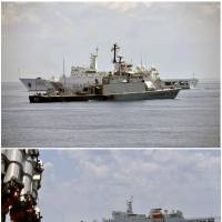 The Indonesian Navy vessel KRI Todak is seen in front of a Chinese Coast Guard ship while trying to detain the Chinese fishing boat Han Tan Cou in waters near the Natuna Islands on Friday. Bottom: A Chinese Coast Guard vessel passes near the Indonesian Navy vessel KRI Imam Bonjol (left) as it attempts to detain the Han Tan Cou near the Natuna Islands the same day. | REUTERS