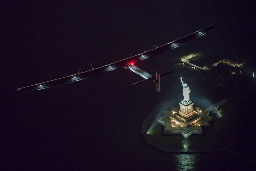 Globe-traveling solar-powered airplane lands in New York City