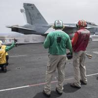 U.S. carrier shifts from Gulf to Mediterranean, launches over 35 airstrikes against Islamic State