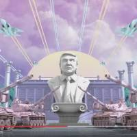 Rows of pink camouflage tanks raising their guns to salute a marble bust of Trump as fighter jets scream overhead in this screen shot taken from the YouTube video 'Japanese Donald Trump Commercial.'
