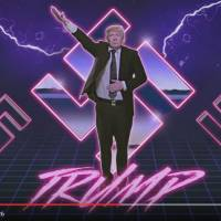 An image of Republican U.S. presidential candidate Donald Trump is made to look like he is giving a Nazi salute as a montage of swastikas loom behind him in this screen shot taken from the YouTube video 'Japanese Donald Trump Commercial.'