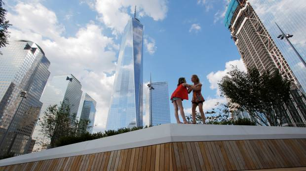 WTC site opens elevated park looking out at 9/11 memorial