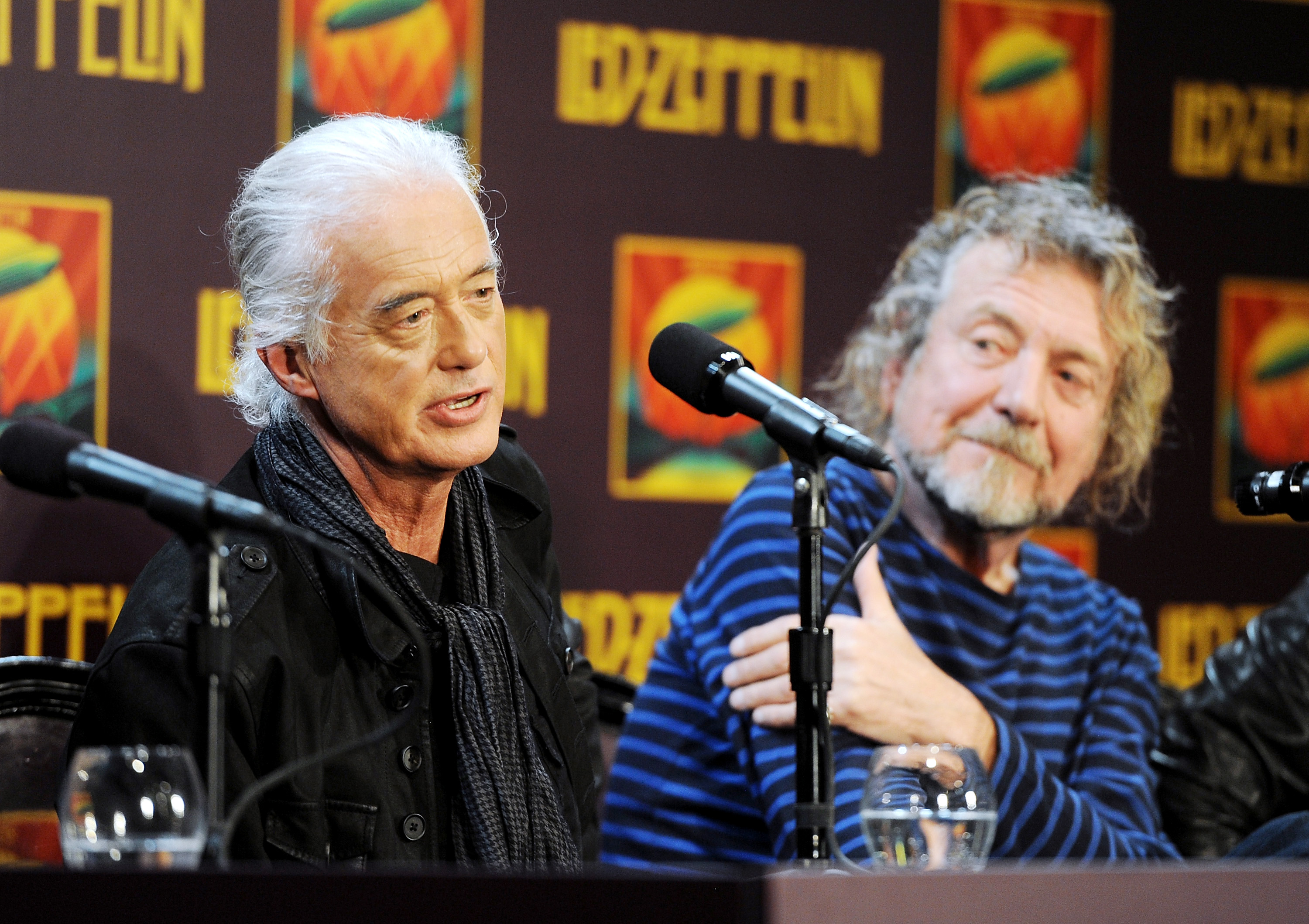 FLed Zeppelin guitarist Jimmy Page (left) and singer Robert Plant appear at a 2012 press conference ahead of the theatrical release of 'Celebration Day,' a concert film of their 2007 London O2 arena reunion show, at the Museum of Modern Art in New York. A federal court jury decided Thursday the band did not steal a riff from an obscure 1960s instrumental tune to use for the introduction of its classic rock anthem 'Stairway to Heaven.' | EVAN AGOSTINI / INVISION / AP