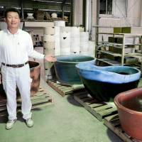 Shigaraki potters' hand-made ceramic tubs brimming with interest