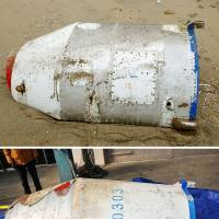 Cylindrical object found on Tottori beach likely North Korean missile part