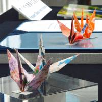Four paper cranes offered by U.S. President Barack Obama during his historic visit to Hiroshima in May were put on display at the Hiroshima Peace Memorial Museum on Thursday. | KYODO