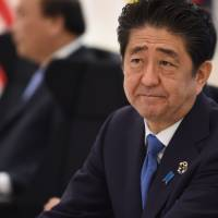 Prime Minister Shinzo Abe takes part in a dialogue with world leaders at the Group of Seven summit in Shima, Mie Prefecture, on May 27. | AFP-JIJI