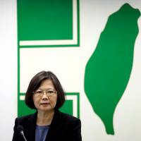 Taiwanese President Tsai Ing-wen speaks at a meeting in Taipei on May 25. Her recent appointment of two officials to handle Japan affairs suggests relations between Taiwan and Japan could get warmer. | REUTERS