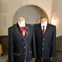 These Kyoto Kogakuin High School's uniforms are based on designs in a work by a local graphic artist. | KYODO