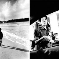 Left: A boy walks along Manza Beach, halfway up the main island of Okinawa. There was a vacationing Chinese family on the beach, but the boy isolated himself from the others, as if he was trying to listen to the ocean. Right: This guy pumped our gas on the drive south from Koza to Naha.   HIROYUKI ITO