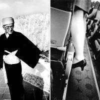 Above left: A man stands outside Shuri Castle, the old palace of the Ryukyu Kingdom. The castle was shelled by Allied forces for three days during World War II. Above right: A flight attendant tries to shut an overhead compartment before takeoff on the plane from Ishigaki to Naha.   HIROYUKI ITO