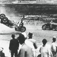 A young Soichiro Honda, the founder of Honda Motor Co. Ltd., crashes during the first four-wheel competition held at Tamagawa Speedway in 1936. | TAMAGAWA SPEEDWAY SOCIETY