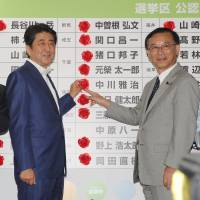 Prime Minister Shinzo Abe (second from left) and Liberal Democratic Party Secretary-General Sadakazu Tanigaki (second from right) place flowers next to the names of winning candidates in the Upper House election at LDP headquarters in Tokyo on July 10, 2016. with Masahiko Komura (left), vice secretary-general and Tomomi Inada (right)  head of the Liberal Democratic Party's Policy Research Council | YOSHIAKI MIURA