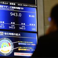 An explanation of extended trading hours is seen below information on the trading of the Mothers Index futures, a new derivative product, at the Osaka Exchange on Tuesday. | KYODO