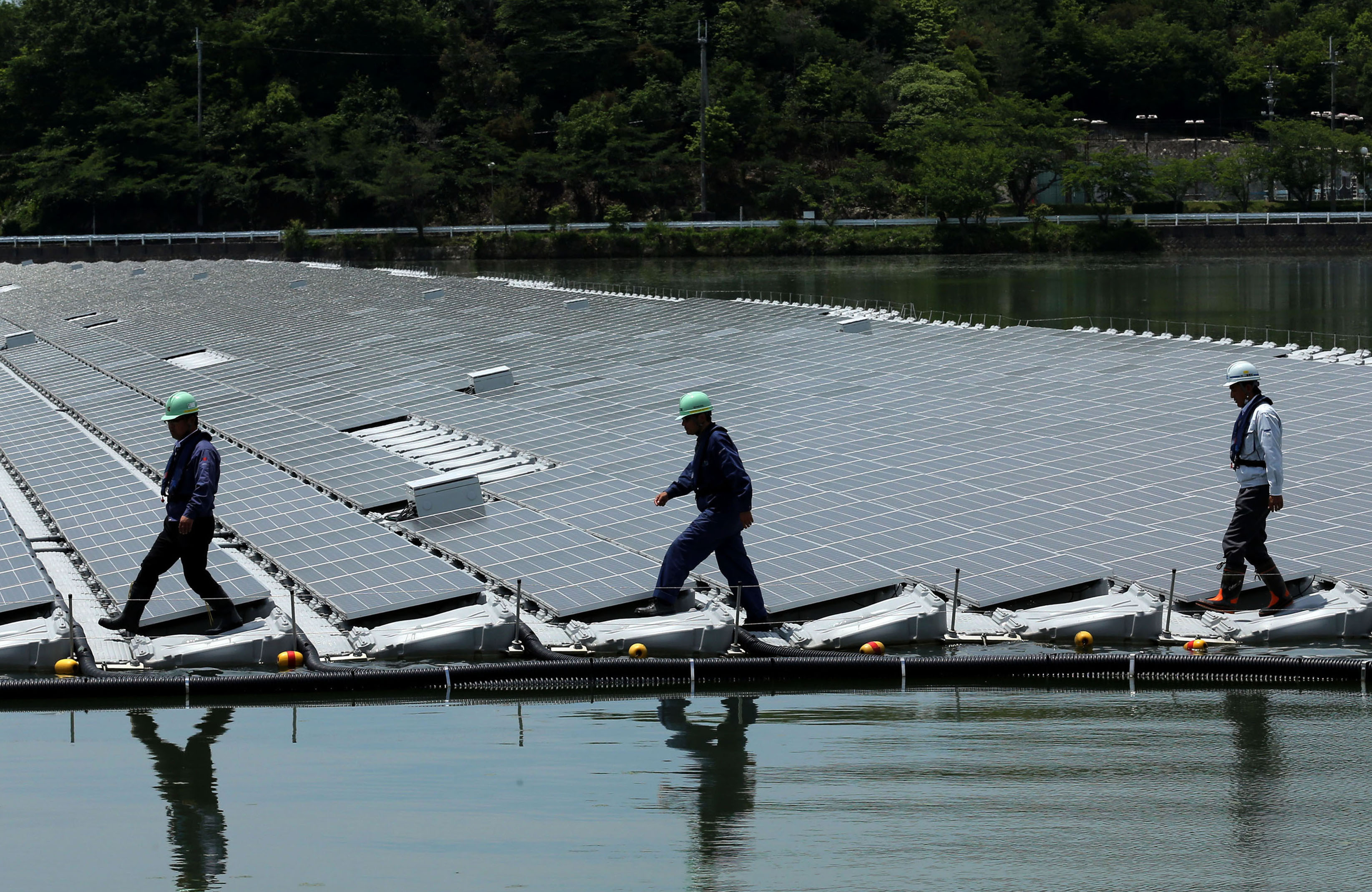Workers walk among rows of solar panels at Kyocera Corp.'s floating solar power plant at Sakasama Lake in the city of Kasai, Hyogo Prefecture, in May last year.   BLOOMBERG