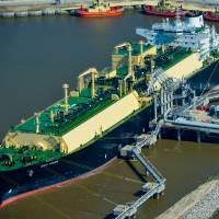 LNG carrier Asia Vision is docked at the Cheniere Energy Inc. terminal in February.   BLOOMBERG