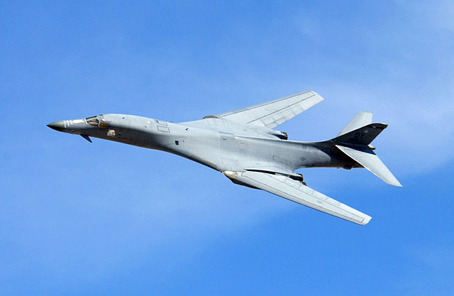 A B-1 bomber performs a flyby during a demonstration at Indian Springs Air Force Auxiliary Field in Nevada in 2004. | U.S. AIR FORCE