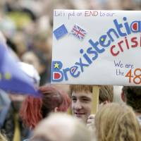 Thousands gather in London to participate in rally protesting result of EU referendum