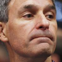 Former Virginia Attorney General Ken Cuccinelli, a leader in a movement to not accept the Republican National Convention Rules Committee's report and rules changes, reacts after his efforts to force a roll-call vote failed and the convention refused to hold the vote and descended into chaos Monday. | REUTERS