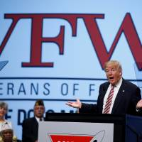 Donald Trump speaks to the Veterans of Foreign Wars conference at a campaign event in Charlotte, North Carolina, Tuesday. | REUTERS