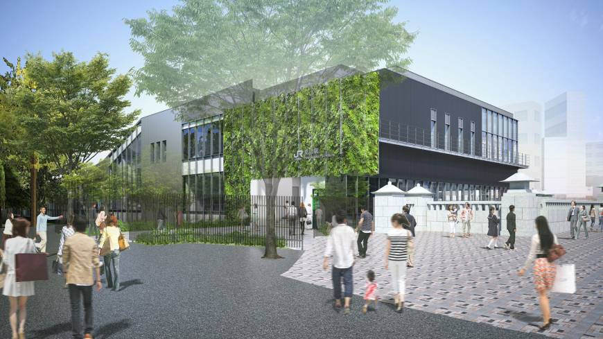 An artist's impression shows the exterior of the new JR Harajuku Station building that will be built before 2020. | EAST JAPAN RAILWAY CO.
