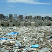Bottles and other plastic waste are seen on the banks of the Arakawa River in Tokyo's Edogawa Ward on July 7. | COURTESY OF HIDESHIGE TAKADA