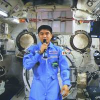 Onishi holds first press conference from ISS, vows to work hard
