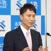 Kagoshima Gov. Satoshi Mitazono attends his inaugural news conference at the prefectural office in the city on Thursday. | KYODO