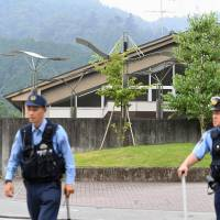 Tsukui Yamayuri-en, a facility for the disabled where a man stormed in and fatally stabbed at least 19 residents, is seen on Tuesday morning. | KYODO
