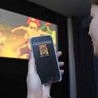 'One Piece Film Gold,' a movie to be released nationwide on Saturday, can be seen with voice guidance available through a smartphone app.   KYODO