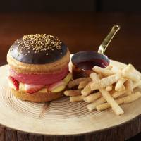 Sweet burger: The Grand Hyatt's The Oak Door steakhouse's Ice Burger is a raspberry ice cream patty inside a brioche bun, served with pastry cinammon fries and raspberry sauce ketchup.