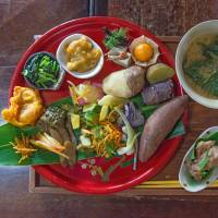 Treasure chest: The Detox Set at Okinawa's Garamanjyaku Cafe is loaded with unusual herbs and vegetables, it's a local variation on a style of cooking based on traditional Chinese yakuzen (herbal medicine) cuisine. | STEPHEN MANSFIELD