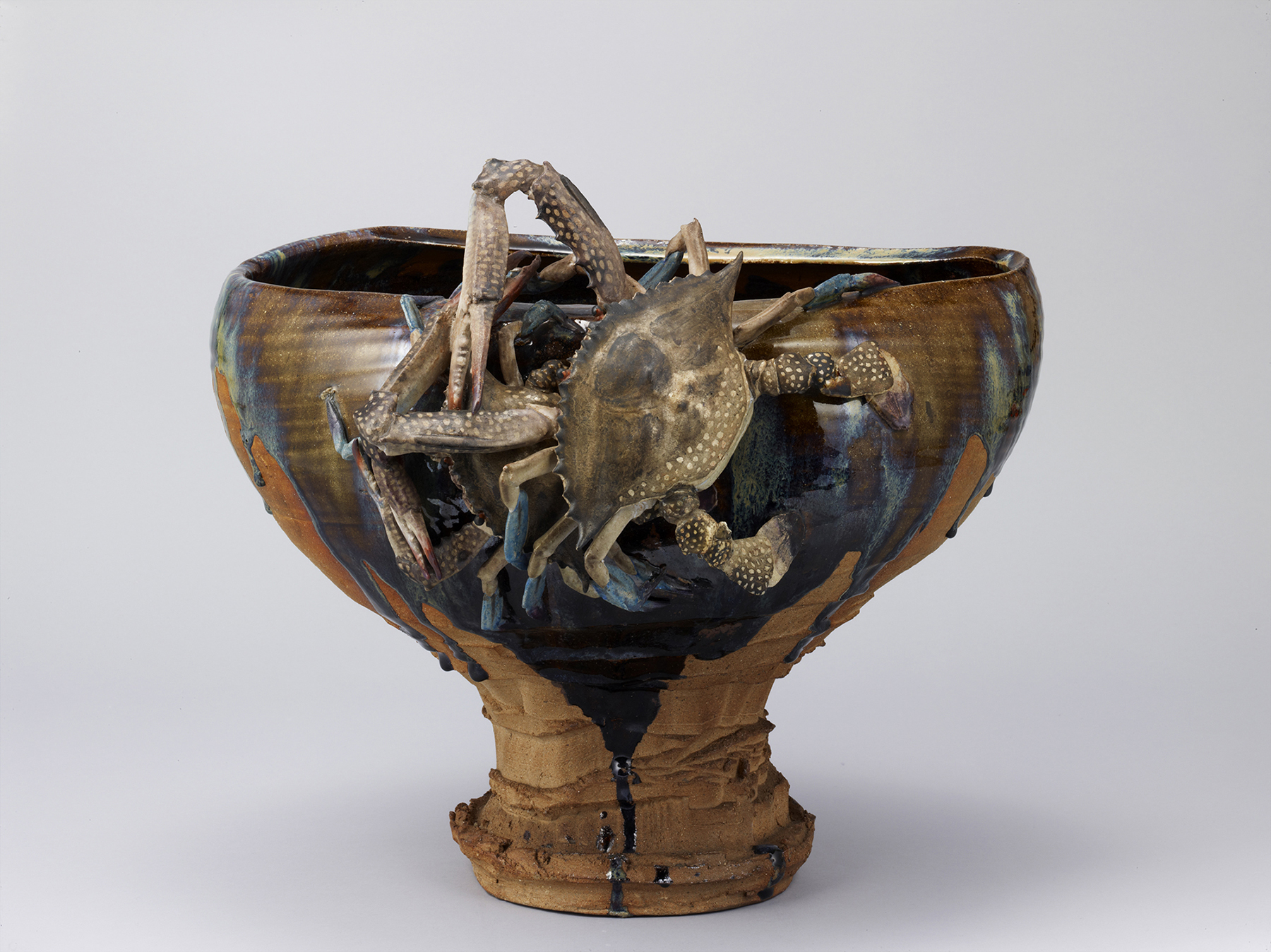'Flower Vase, Pottery with Brown Glaze and Crabs' (1881), an Important Cultural Property | TOKYO NATIONAL MUSEUM, TNM IMAGE ARCHIVES