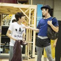 There's no business like shoe business: Teppei Koike (center) and Haruma Miura take part in rehearsals for the Japanese production of 'Kinky Boots.'