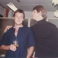 Tokyo writers: Alan Booth (left) with close friend Timothy Harris after one of their reading performances together in the 1980s.   COURTESY OF TIMOTHY HARRIS