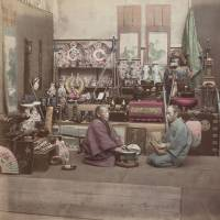 Hand-colored albumen print by Baron Raimund von Stillfried, titled 'Courios Shop' 