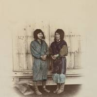 Hand-colored albumen print by Baron Raimund von Stillfried, titled 'Two Aino Women' (1872)  | PICTURES COLLECTION, STATE LIBRARY OF VICTORIA, MELBOURNE