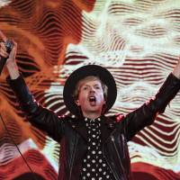 Odelay: Beck played a number of hits during his headline set at Fuji Rock.   JAMES HADFIELD