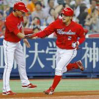 Carp teammates Tanaka, Fukui deliver dynamic performances against Giants