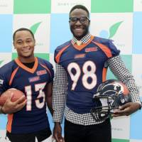 Former University of Michigan quarterback Devin Gardner (right) and his college teammate Jeremy Gallon, a wide receiver, joined the X League's Nojima Sagamihara Rise this summer. | KAZ NAGATSUKA