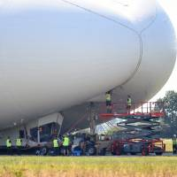 World's largest aircraft damaged in crash landing; no injuries reported