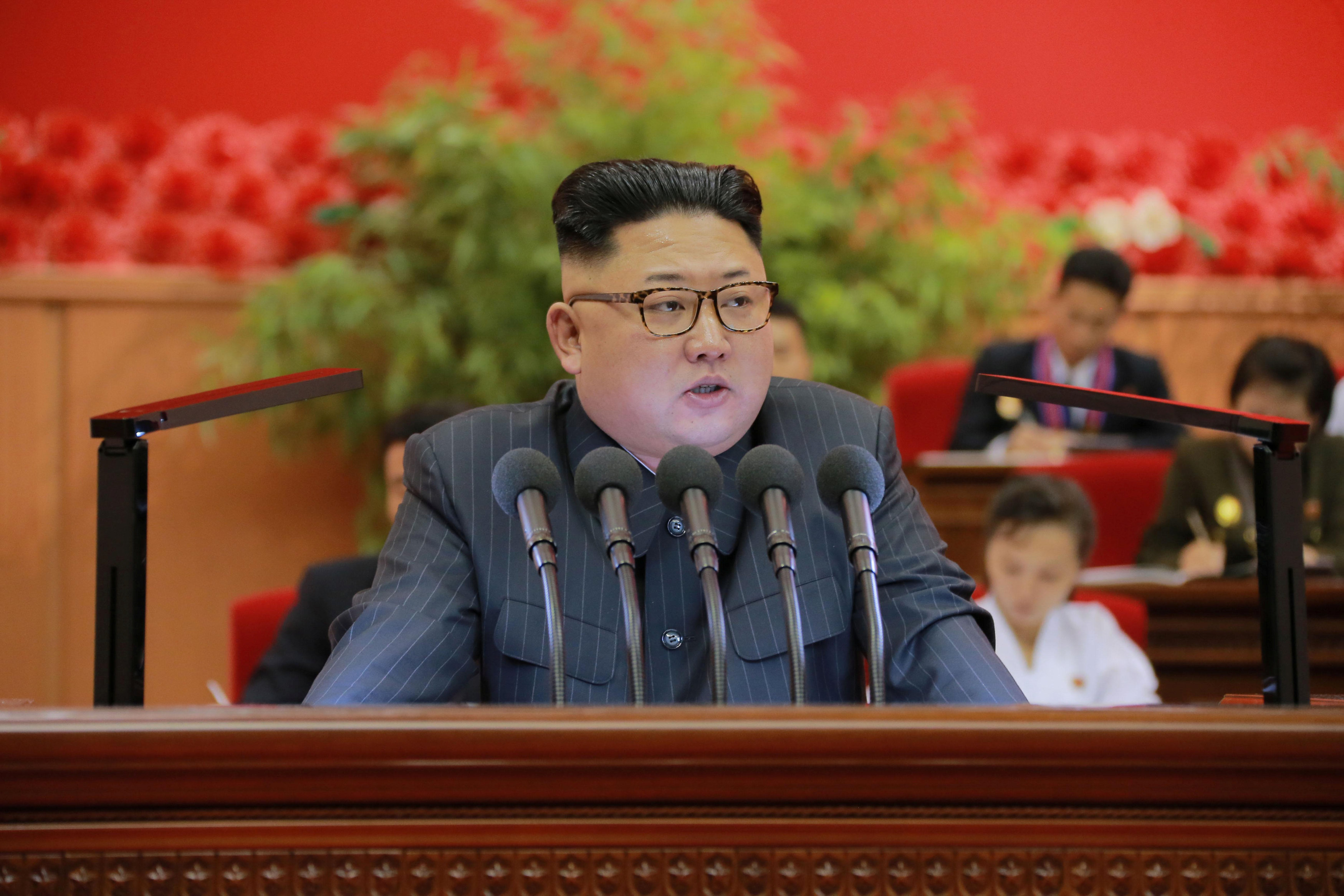 North Korean leader Kim Jong Un addresses the Ninth Congress of the Kim Il Sung Socialist Youth League in this undated photo released Monday. | REUTERS