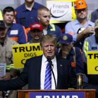 Republican presidential candidate Donald Trump speaks during a campaign rally Wednesday in Abingdon, Virginia. | AP