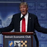 Trump tries to get back on track with Detroit economic speech amid protests